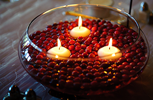 Table decoration with candle